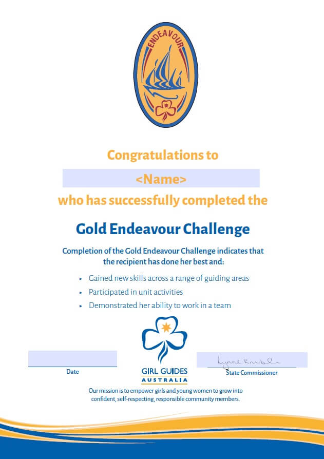 Gold Endeavour Certificate